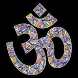 Символ Om на черной предпосылке Стоковое фото RF