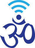 Символ OM совмещенный с символом WIFI иллюстрация вектора