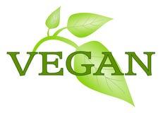 Символ Vegan при зеленые изолированные листья Стоковая Фотография RF