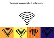 Символ wifi плана прозрачный Стоковое Изображение