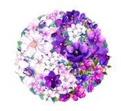 Символ Ying yang с цветками акварель Стоковое Изображение