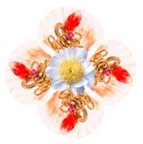 Симметричная картина от зерен гранатового дерева, золотого ожерелья, рубинового камня, seashell и цветка Стоковые Изображения RF