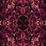 Симметричная орнаментальная безшовная картина в фиолетовых цветах Стоковая Фотография RF