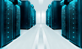Симметричная футуристическая современная комната сервера в современном центре данных с ярким светом Стоковые Изображения