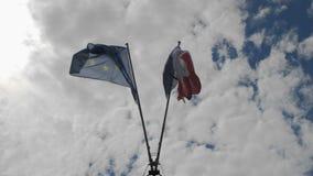 Симметрично обнаруженный местонахождение флаг волн Франции и Европейского союза в ветре на флагштоке На фоне видеоматериал