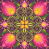 Симметричный флористический дизайн плитки Иллюстрация вектора