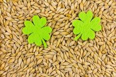 2 симметричных зеленых листь войлока большого на предпосылке основания зерен St. Patrick Стоковое Фото
