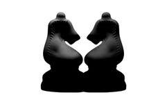 Симметрия шахмат черных рыцарей Стоковое Изображение
