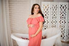 Симпатичная беременная женщина брюнет одетая в платье Стоковые Изображения RF