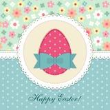 Симпатичная винтажная карточка пасхи с applique ткани заплаты яичка в затрапезном шикарном стиле иллюстрация вектора