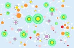 Симпатичная динамика цвета изгибает линии с бросать-линией потехи и цветом точек бесплатная иллюстрация