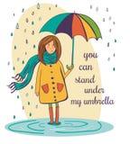 Симпатичная девушка с зонтиком под дождем Иллюстрация вектора