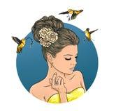 Симпатичная девушка с красивым парикмахером Иллюстрация графика цвета Стоковые Фотографии RF