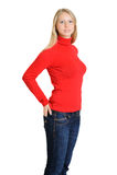 Симпатичная женщина в красной кофточке Стоковые Изображения RF