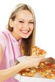 симпатичная женщина пиццы Стоковые Фотографии RF