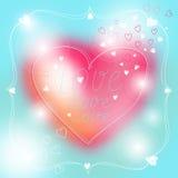 Симпатичная карточка валентинки с стилем литерности Стоковое Изображение RF