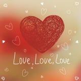 Симпатичная карточка валентинки также вектор иллюстрации притяжки corel Стоковое Изображение RF