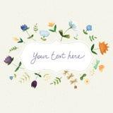 Симпатичная карточка концепции весны сделанная в методе акварели - иллюстрации Стоковая Фотография