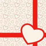 Симпатичная красная карточка с сердцами Стоковое Изображение
