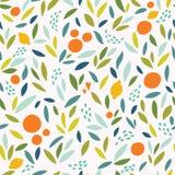 Симпатичная красочная безшовная картина с милыми апельсинами, лимонами и листьями в ярких цветах Стоковые Изображения RF
