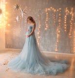 Симпатичная молодая беременная женщина в красивом платье Стоковые Фото
