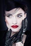 симпатичная ретро женщина вдовы стоковые изображения