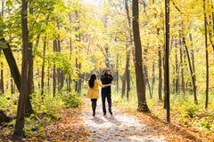 Симпатичная семья идя в образ жизни леса осени здоровый Стоковое Фото