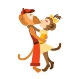 Симпатичная стойка детей обезьяны обнимая и целуя Стоковое фото RF