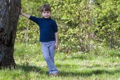 Симпатичная усмехаясь маленькая девочка стоя около большого дерева на зеленой траве Стоковое Изображение