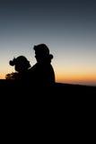 Симпатичное искусство захода солнца пар Стоковые Фото