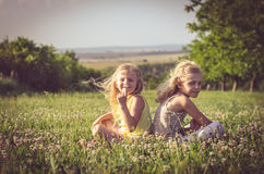 Симпатичные белокурые девушки сидя в луге Стоковое Изображение