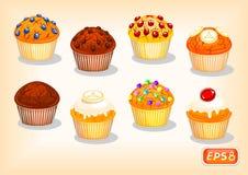 Симпатичные булочки с различными вкусами и кудрявой коркой иллюстрация вектора