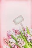 Симпатичные гиацинты цветут с знаком bokeh и пробела деревянным на розовой предпосылке, взгляд сверху Весеннее время и садовничат Стоковые Фото