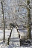 Симпатичные детали ветвей с снегом, заморозком и деревянным мостом Стоковые Изображения