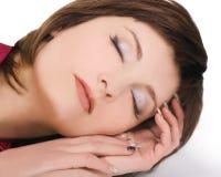 симпатичные детеныши женщины спать стоковое изображение rf