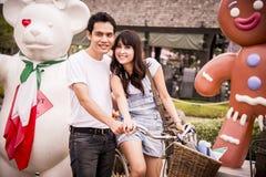 Симпатичные пары в парке атракционов Стоковое Изображение RF