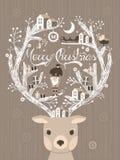 Симпатичные рождественская открытка или плакат дизайна лосей иллюстрация вектора