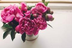 Симпатичные розовые пионы на деревенском белом деревянном окне в li утра Стоковое фото RF