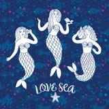 Симпатичные русалки на декоративной предпосылке Стоковое фото RF