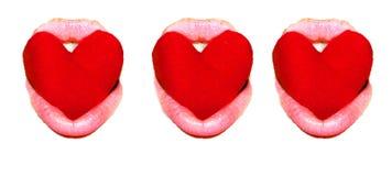 Симпатичные сердце и губы Стоковое Изображение