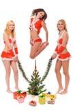 Симпатичные смотря девушки хелпера santa стоковые изображения