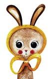Симпатичный зайчик акварели в желтой шали Стоковое Изображение