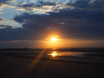 Симпатичный заход солнца Стоковые Изображения RF