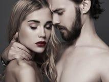 Симпатичный красивый портрет пар женщина красоты и красивый человек Стоковое Изображение