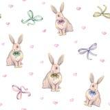 Симпатичный кролик акварели с смычком на белой предпосылке банкы рисуя цветя замотку акварели валов реки Ручная работа картина бе Стоковые Фотографии RF