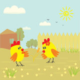 Симпатичный маленький цыпленок 2 смотря уши пшеницы Стоковая Фотография
