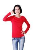Симпатичный предназначенный для подростков gesturing женщины Стоковое Изображение