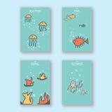 Симпатичный простой уникально животный план дизайна крышки открытки Handrawn моря Стоковые Изображения RF
