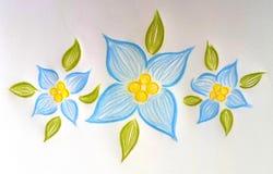 3 симпатичных цветка нарисованных рукой голубых! Иллюстрация штока