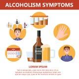 Симптомы алкоголизма Опасность от алкоголизма infographic иллюстрация вектора